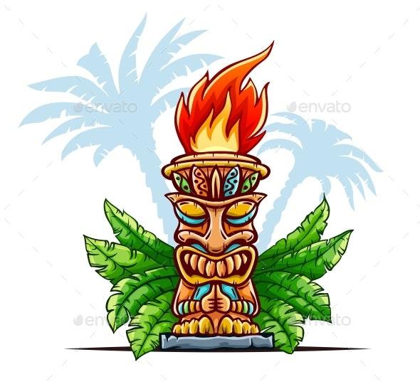 Tiki Traditional Hawaiian Tribal Mask - Man-made Objects Objects