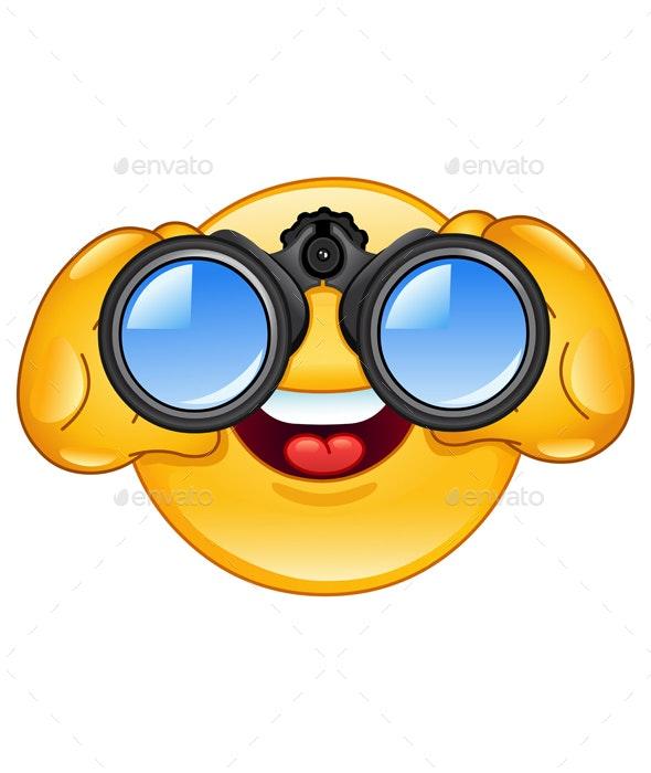 Binoculars Emoticon - People Characters