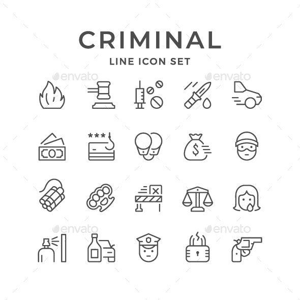 Set Line Icons of Criminal - Man-made objects Objects