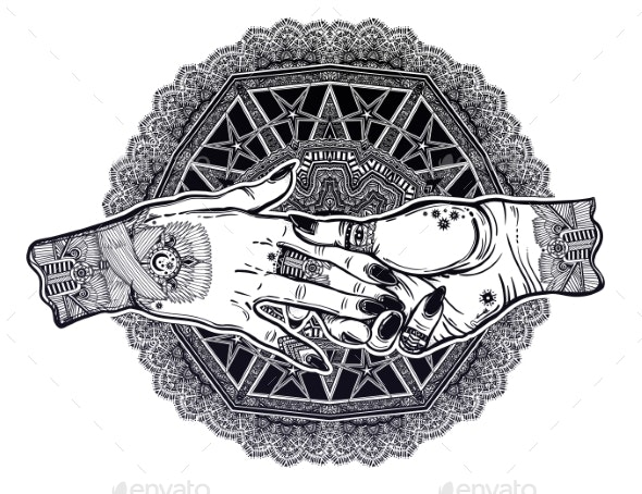 Couple Holds Tattooed Hands Witchcraft Magic - People Characters