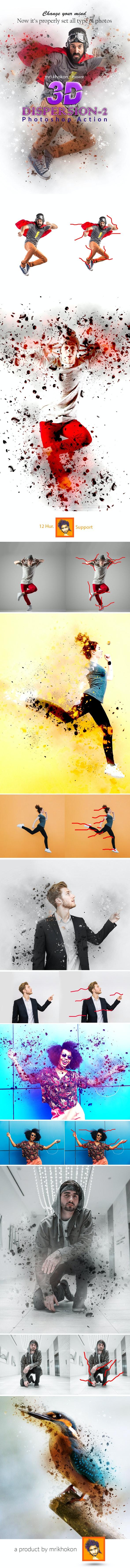 3D Dispersion Photoshop Action 2 - Actions Photoshop