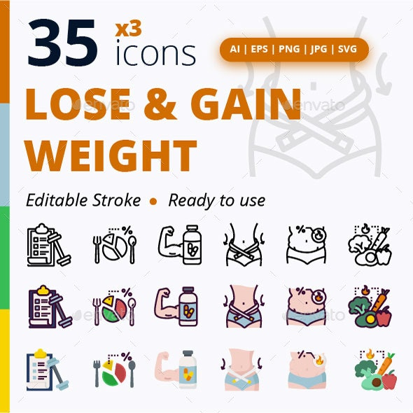 Lose and Gain Weight - Objects Icons