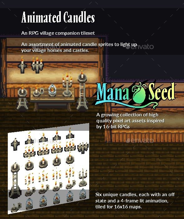 Animated Candles - Animated Pixel Art Sprites - Sprites Game Assets