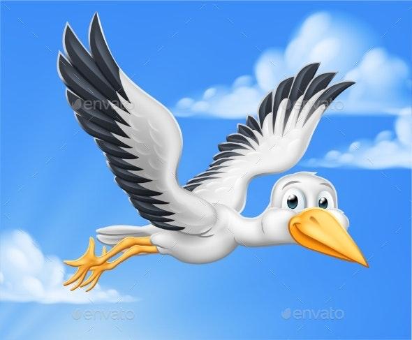 Stork Cartoon Pregnancy Myth Bird - Animals Characters