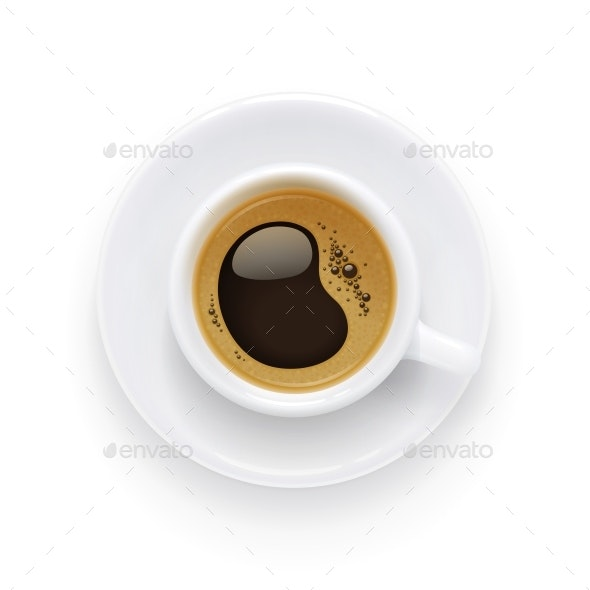 Coffee Cup and Plate Aromatic Drink for Breakfast - Food Objects
