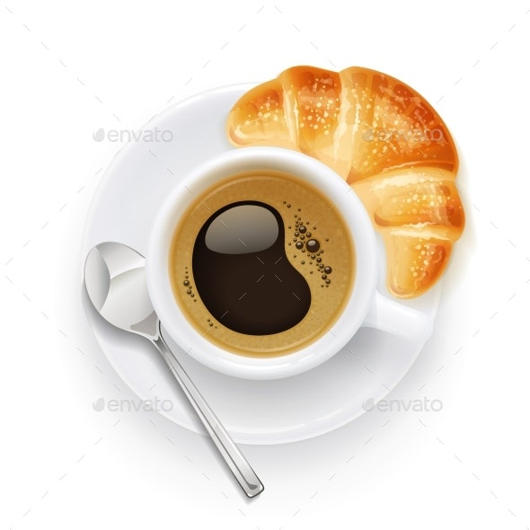 Coffee Cup and Plate with Croissant - Food Objects