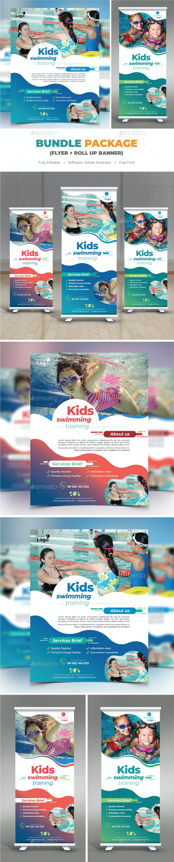 Kids Swimming Training Bundle (Flyer+Roll Up) - Flyers Print Templates