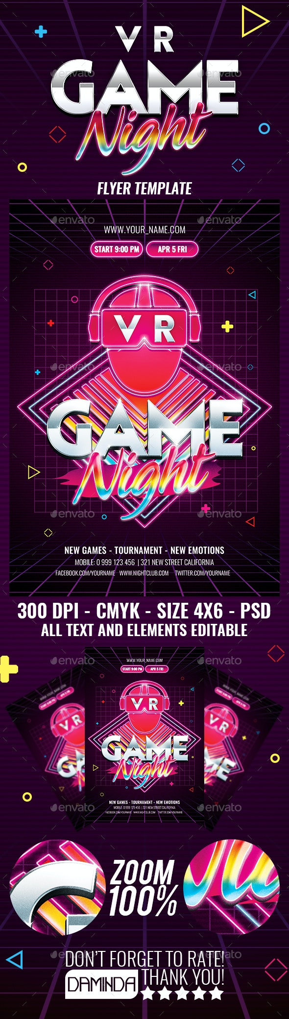 VR Game Night Flyer Template - Events Flyers