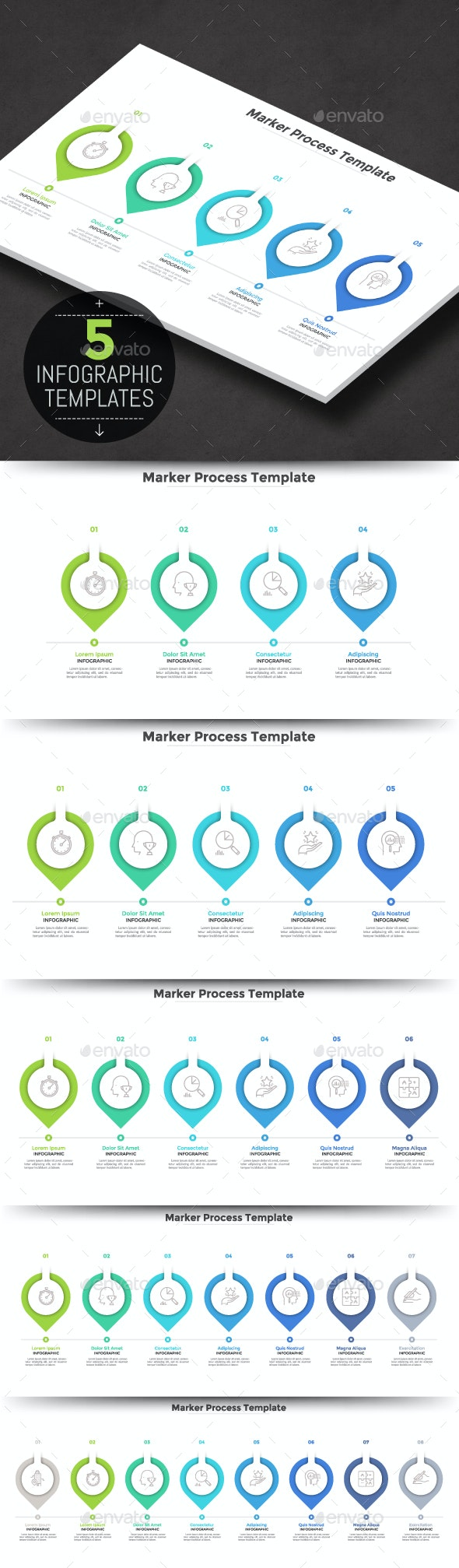Horizontal Infographic Process Template - Infographics