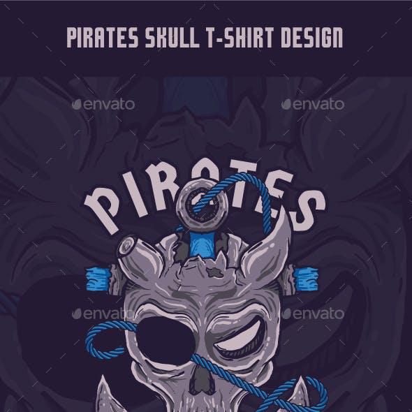 Pirates Skull T-Shirt Design