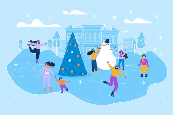 Flat Illustration Ice Rink on Big City Street - Sports/Activity Conceptual