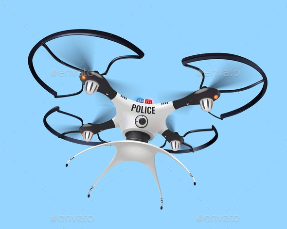 Police Drone Realistic Composition - Industries Business