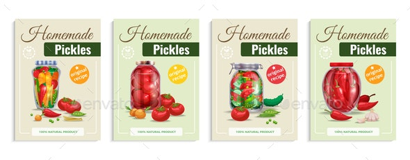 Homemade Pickles Poster Set - Food Objects
