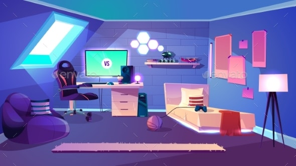 Teenager Room on Attic Cartoon Vector Interior - Man-made Objects Objects