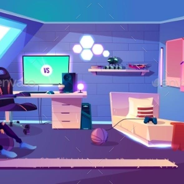 Modern Teenager Boy Room Interior Cartoon Vector
