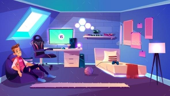 Modern Teenager Boy Room Interior Cartoon Vector - Miscellaneous Vectors