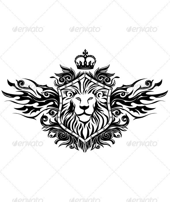 Lion On Shield Insignia - Animals Characters