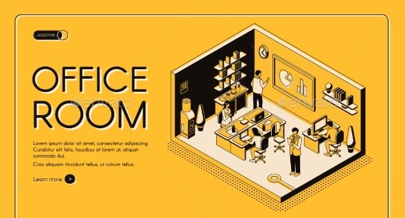 Co-Working Center Office Isometric Vector Website - Concepts Business