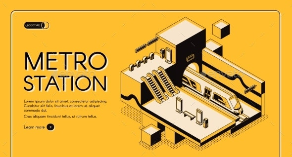 Modern Metro Station Isometric Vector Website - Computers Technology