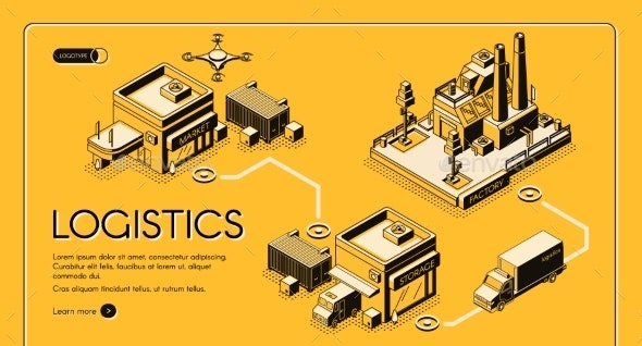 Logistics Company Isometric Vector Web Banner - Industries Business