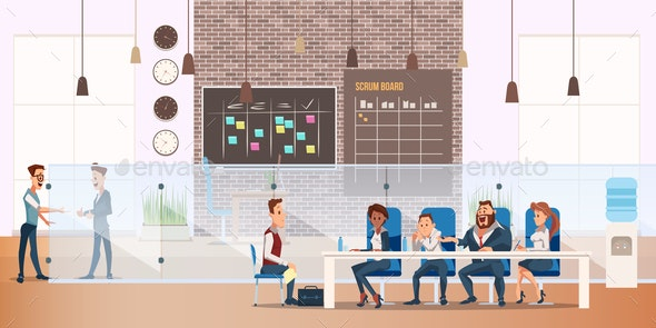 Man on Job Interview Process in Modern Office - People Characters