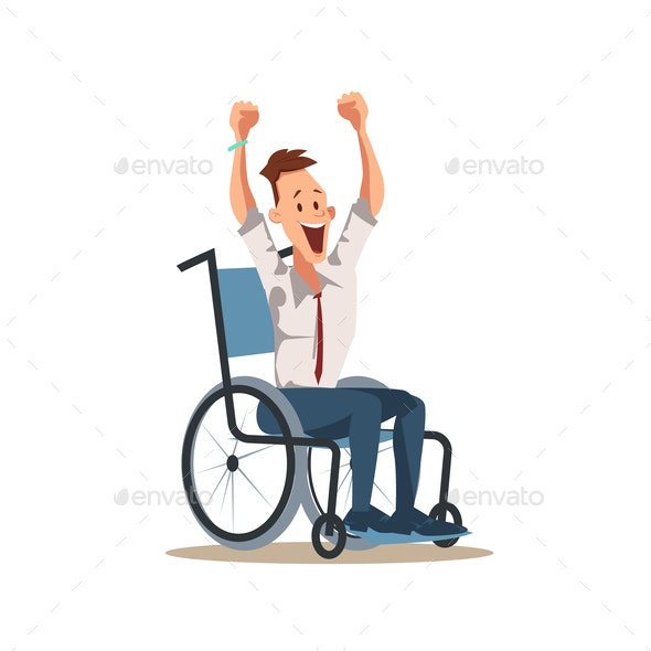 Happy Disabled Male Worker Cheers with Hands Up - People Characters