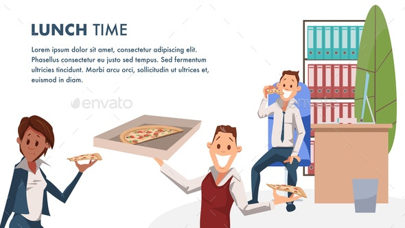 Office Character with Pizza Lunch Time Banner - Food Objects