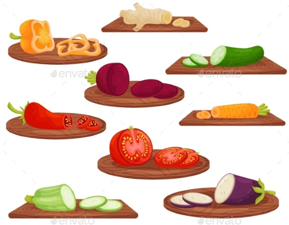 Cartoon Vegetables on Wooden Cutting Board - Food Objects
