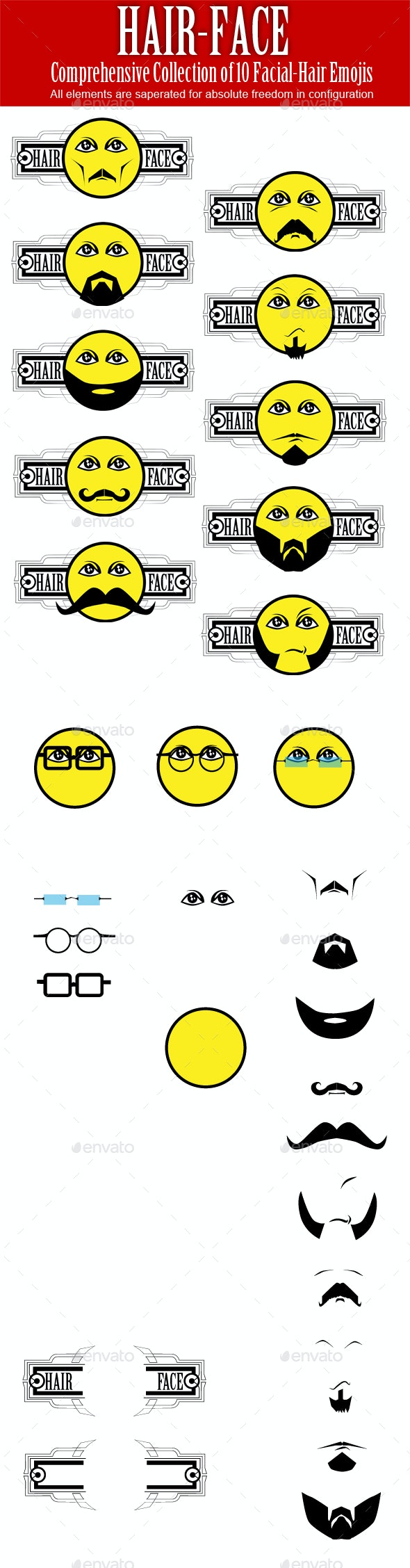 Facial Hair Emojis - People Characters