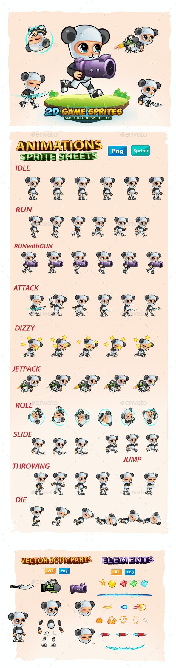 Panda Boy 2D Game Sprites - Sprites Game Assets