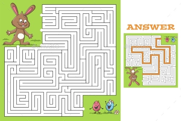 Maze Easter Puzzle - Backgrounds Decorative