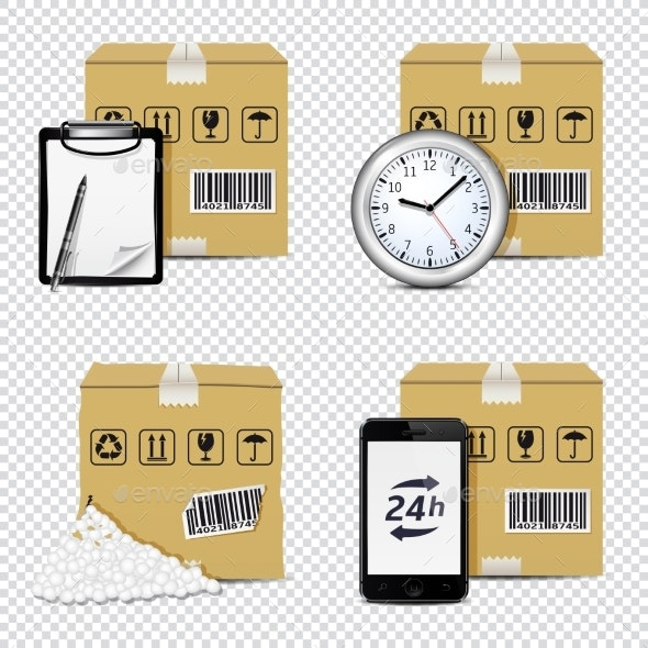 Delivery Icons Isolated on Transparent Background - Man-made Objects Objects