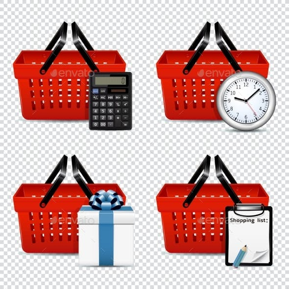 Red Plastic Shopping Baskets with Different Icons