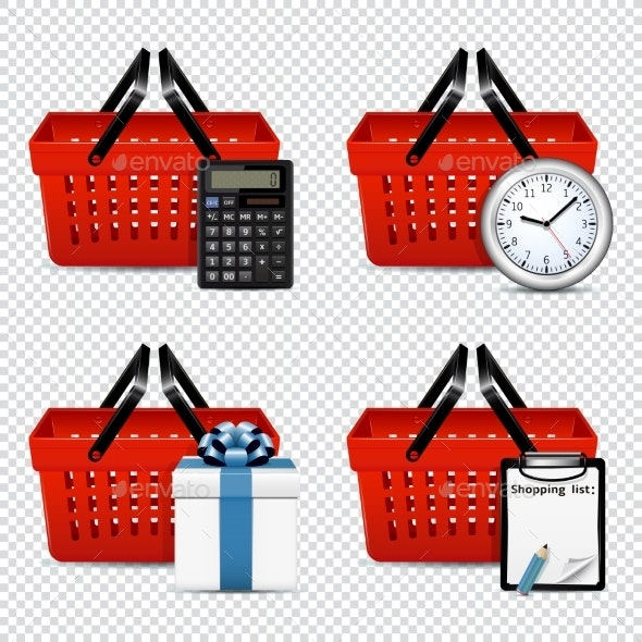 Red Plastic Shopping Baskets with Different Icons - Miscellaneous Vectors