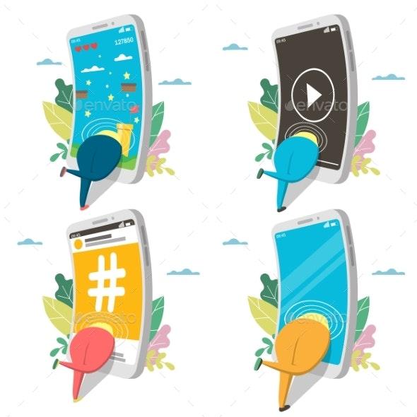 Smartphone Addiction Icon Set - Communications Technology
