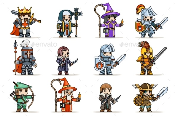 Lineart Fantasy Set RPG Game Heroes Character - People Characters