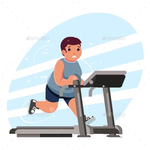 Fat Man Cardio Running Treadmill Simulator Fitness - Sports/Activity Conceptual