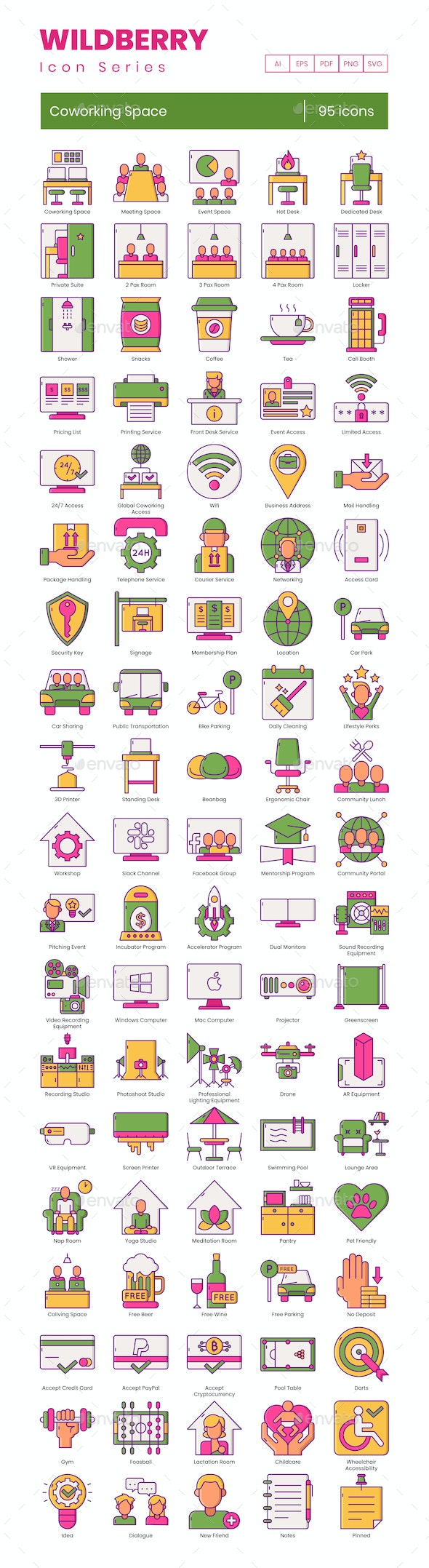 Coworking Space Icons - Wildberry Series - Business Icons