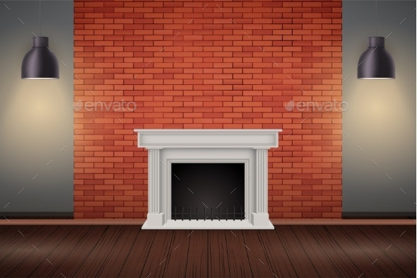 Red Brick Wall Room with Fireplace - Sports/Activity Conceptual