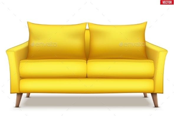 Modern Yellow Soft Sofa