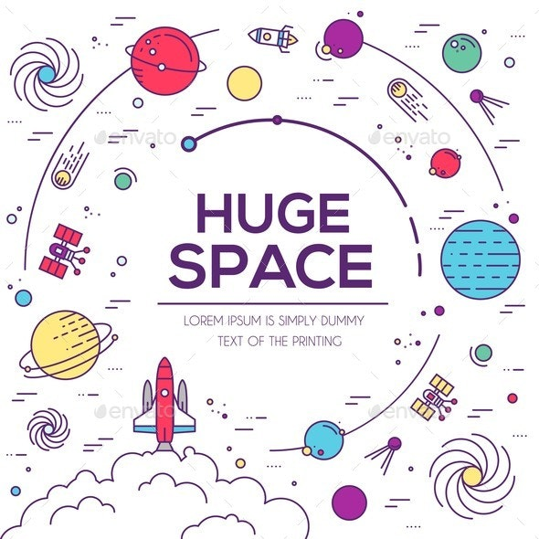 Set of Huge Universe Infographic Illustration - Man-made Objects Objects