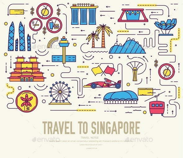 Country Singapore Travel Vacation Guide of Goods - Buildings Objects