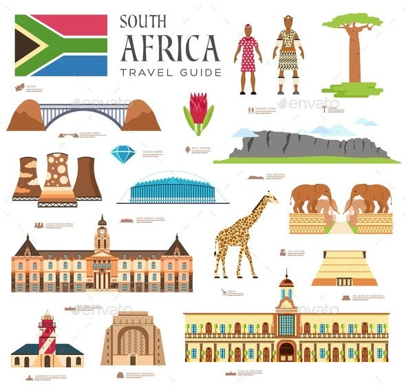 Country South Africa Travel Vacation Guide - Miscellaneous Vectors