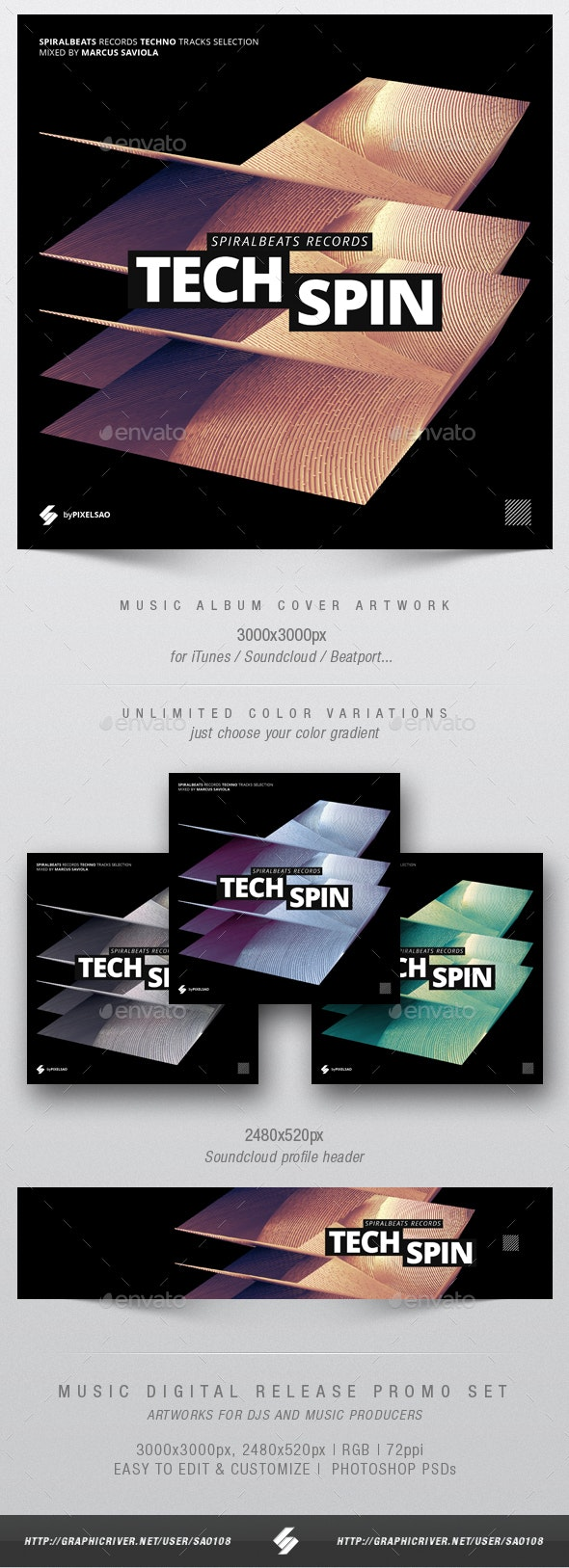 Techspin - Music Album Cover Artwork Template - Miscellaneous Social Media