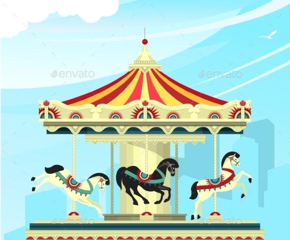 Amusement Park Carousel - Miscellaneous Vectors
