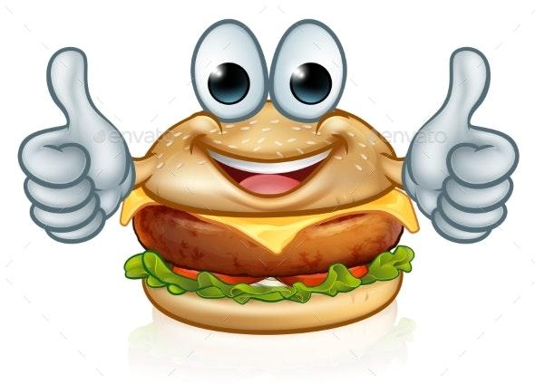 Burger Food Cartoon Character Mascot - Food Objects