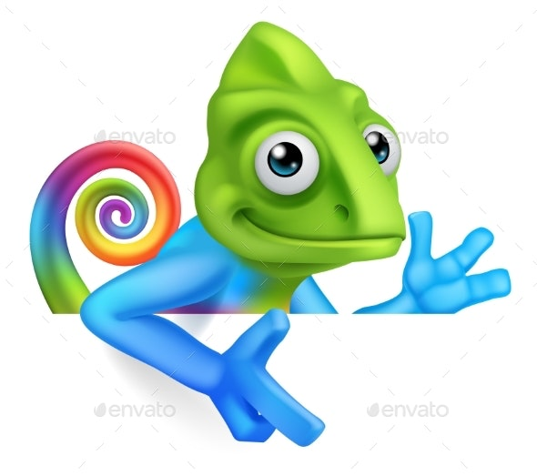 Chameleon Cartoon Peeking Over Sign Pointing - Animals Characters