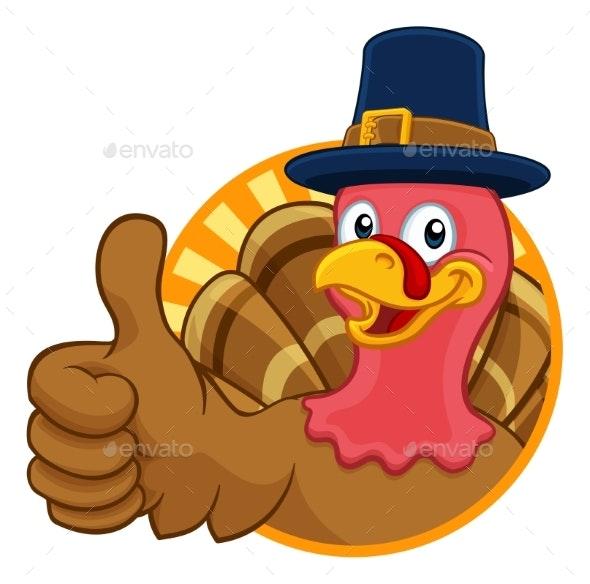 Turkey Pilgrim Hat Thanksgiving Cartoon Character - Animals Characters