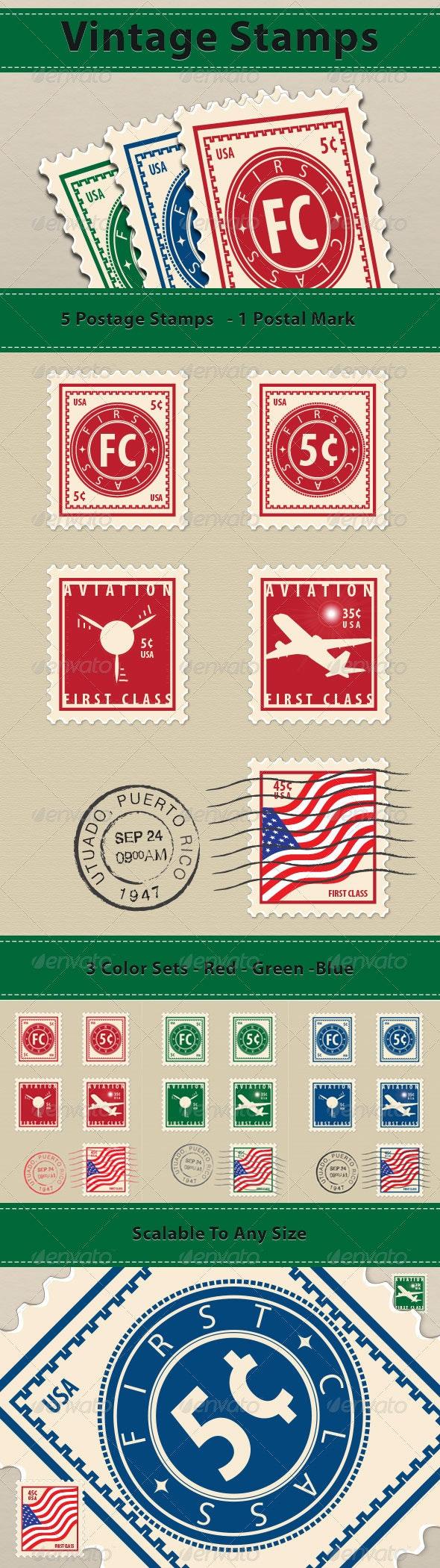 Vintage Stamps - Decorative Vectors