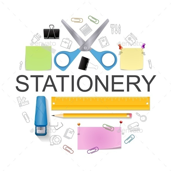 Realistic Office Stationery Round Concept - Backgrounds Business